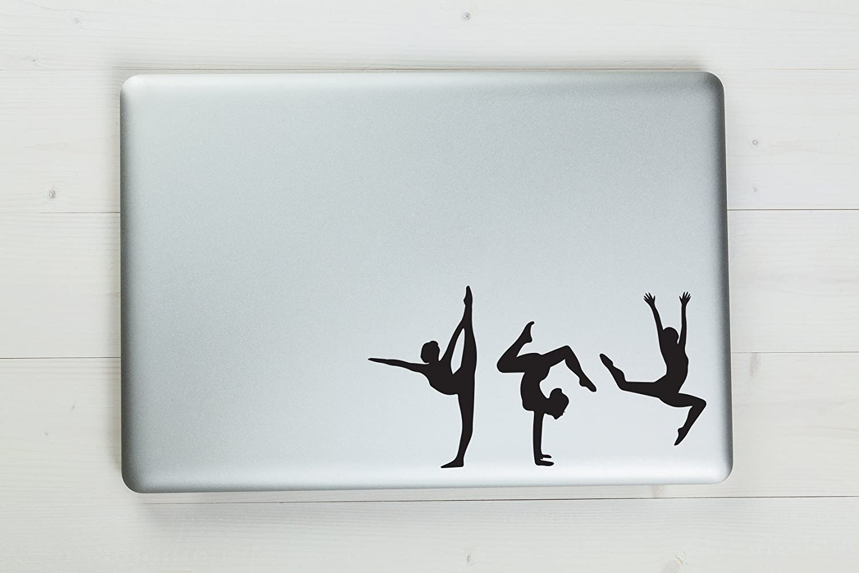 "Three Gymnist Poses Vinyl Sticker Decal 7.5""x4"" (Black)"