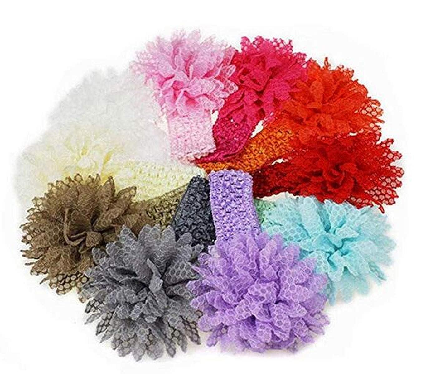 De feuilles Baby Haarband 10 St/ück Stirnband Elastisch Band Schleife Blumen M/ädchen Haarschmuck