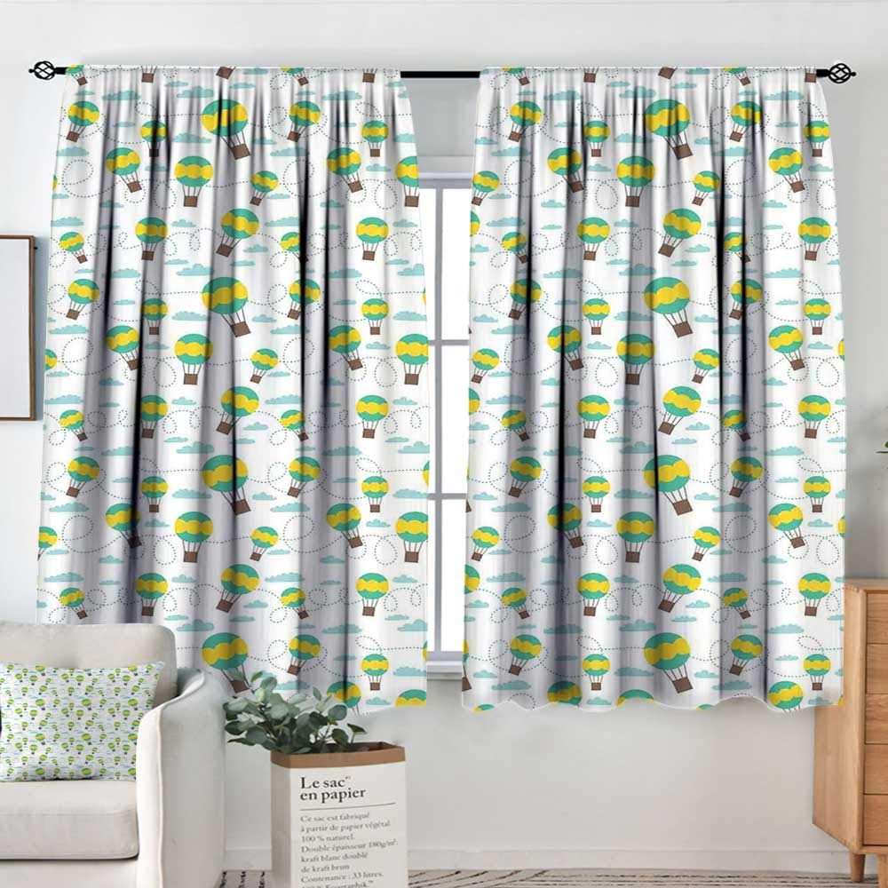 color07 52 W x 63 L Decor Waterproof Window Curtain Kids,Set of Drawings Different Cartoon Style Characters Cute Monsters Funny Animals Mutants,Multicolor,Darkening and Thermal Insulating Draperies 42 x54