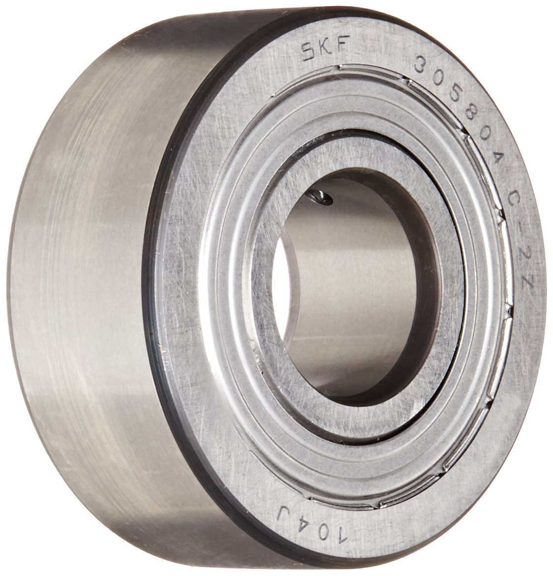 SKF 305804 C-2Z Yoke Type Track Roller, Crowned OD, Shielded, Metric, 20mm Bore, 52mm OD, 20.6mm Width