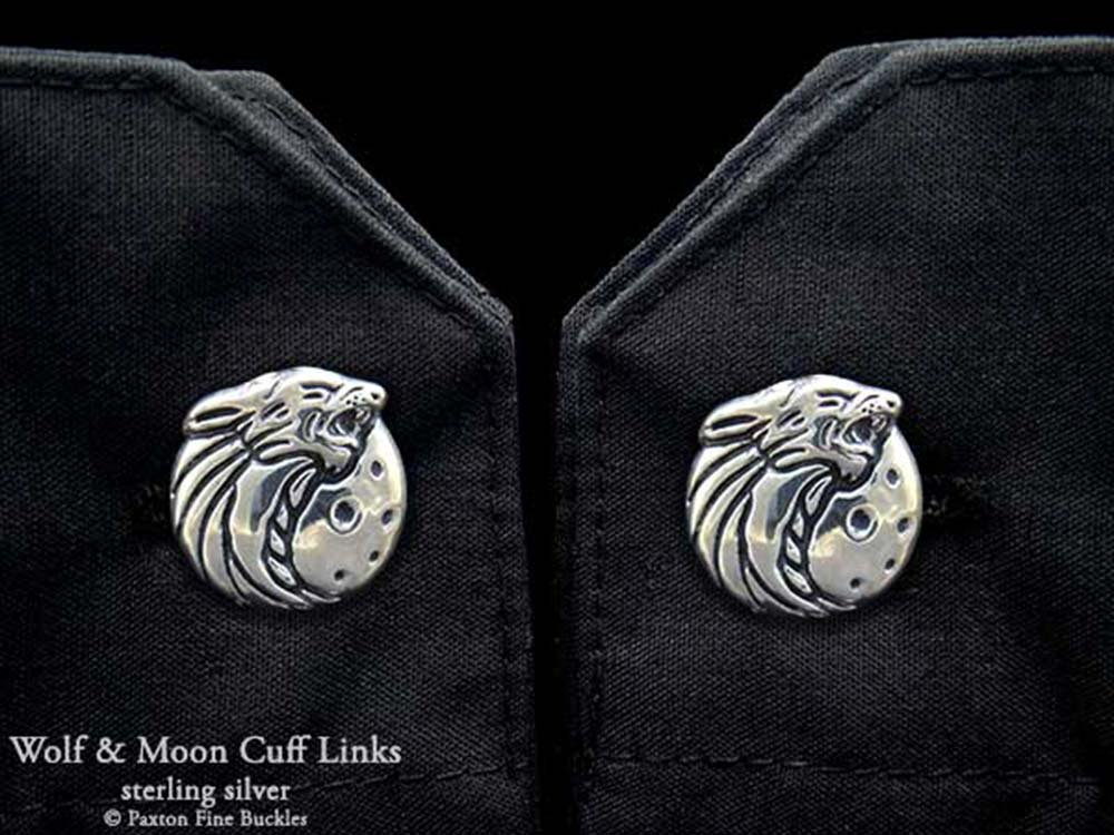 Howling Wolf Head Cuff Links in Solid Sterling Silver Hand Carved & Cast by Paxton