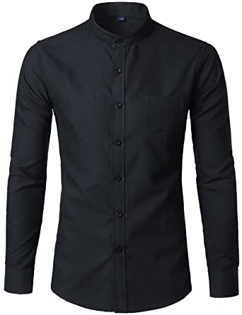 f5274daa9fb795 WHATLEES Mens Hipster Mandarin Collar Slim Fit Long Sleeve Casual Button  Down Oxford Dress Shirt with