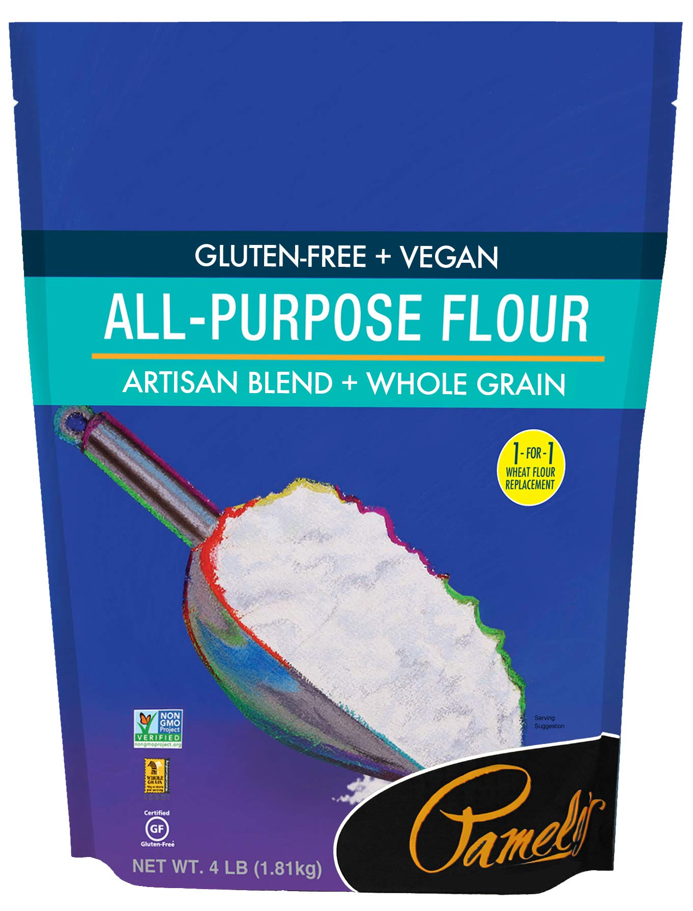 Pamela's Products Gluten Free All Purpose Flour Blend, 4 Pound by Pamela's Products (Image #1)