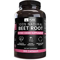 100% Pure Beet Root |4 Month Supply |365 Capsules |1155mg |No Magnesium or Rice Filler, Gluten-Free, Natural, Made in…
