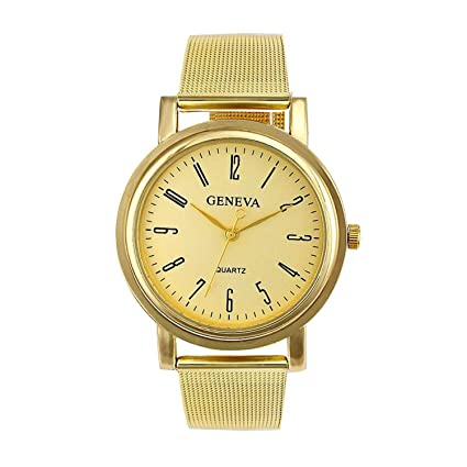 Geneva Womens Quartz Stainless Steel Wrist Watch reloj Mujer Acero inoxidable Ladies Watch(Gold,