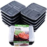 NALATI 3 Compartment Leak Proof Food Containers with Lids Dividers Reusable BPA Free 10 Pack Meal Prep Microwavable and Dishwasher Safe Technology Meal Bento for Lunch Storage Boxes(Pattern 2)