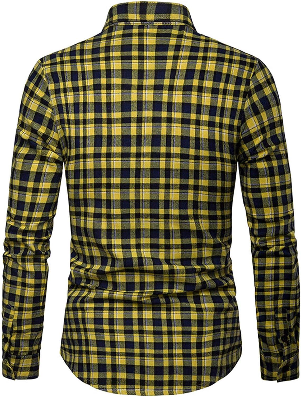 JOLIME Camisa Hombre Cuadros Escoceses Manga Larga Casual Trabajo Formal Moderno Blusas: Amazon.es: Ropa y accesorios