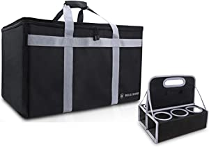 """BELLEFORD Insulated Food Delivery Bag + Cup Carrier COMBO XXL - 23x14x15"""" Waterproof Grocery Storage [Warm & Cool] - Lunch Buffet Server, Warming Tray, Pizza Box, Chafing Dish + Drink Carrying Case"""