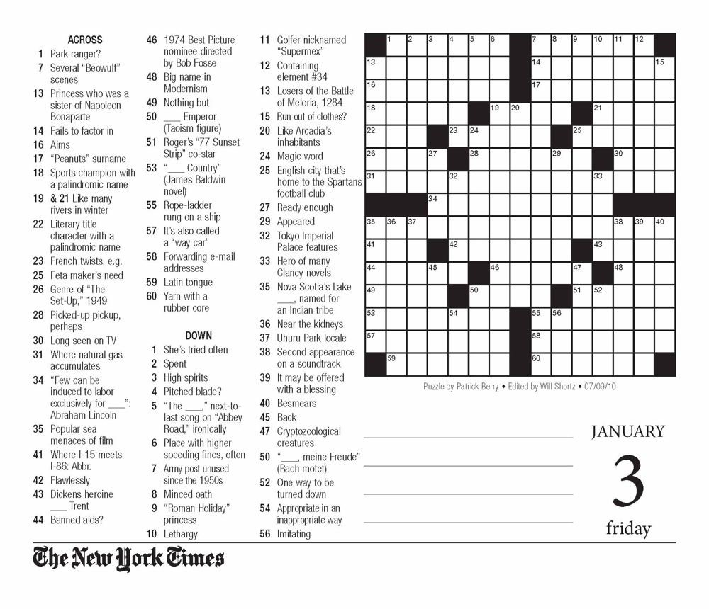 picture about New York Times Crossword Printable Free Sunday identify The Fresh York Occasions Crossword Puzzles 2014 Calendar: The Fresh