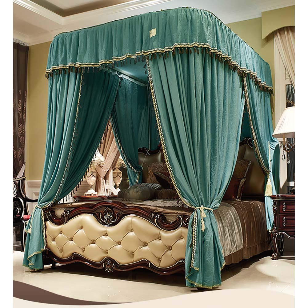 Large Size Mosquito Net,Bed Canopy for Girls,Lightweight Premium Bed Drapes,4 Corners Lightproof Curtain for Beds Cribs-Green Twinch2 by Bling (Image #3)