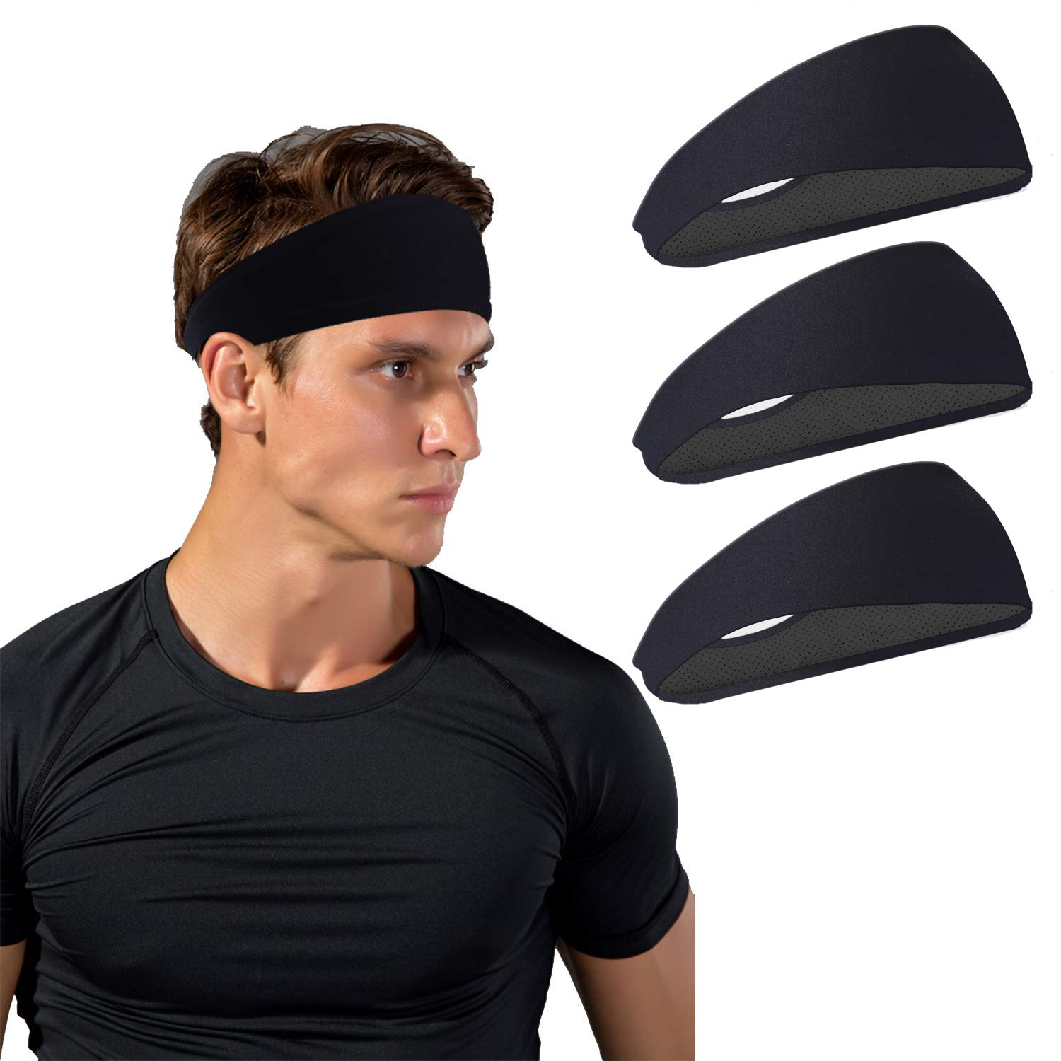 JOEYOUNG Sport Headbands for Men and Women - Mens Headband, Workout Sweatband Headband for Running, Yoga, Fitness, Gym - Performance Stretch/Lightweight