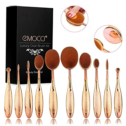 Cepillo de Maquillaje Profesional Ovalada 10 piezas Elite Makeup Brush Cepillo de Dientes de la cara