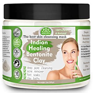 Indian Healing Clay, Pure & Natural Bentonite Clay, Deep Pore Cleansing Mask, Face Skin Care, Detoxifying Wyoming Organic Clay/Acne Remover & Rejuvenating Skin – Made in USA