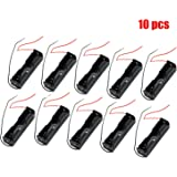 HUELE Pack of 10 Wire Lead Battery Storage Box Case Holder for 18650 Button