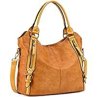 Plambag Women Faux Leather Hobo Handbag Large Tote Purse