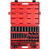 Sunex 2568, 1/2 Inch Drive Master Impact Socket Set, 43-Piece, SAE, 3/8 Inch - 1-1/2 Inch, Standard/Deep, Cr-Mo Alloy Steel,
