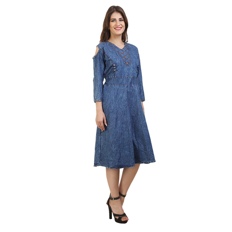 875d05e835a FRANCLO Women's Cold Shoulder Denim Knee Length Dress (Best fit 34-36 Bust)  (Large): Amazon.in: Clothing & Accessories