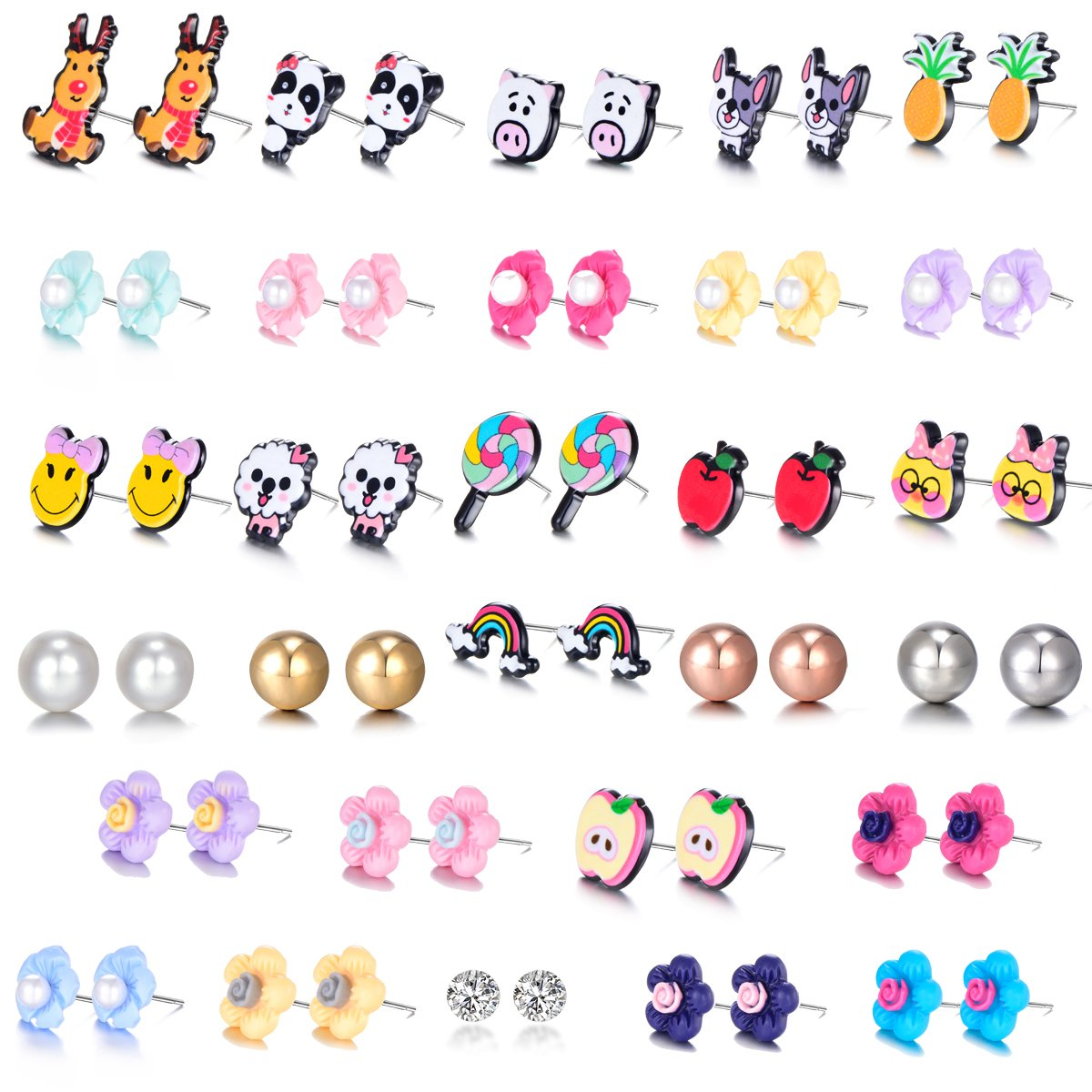 Mixed Cute Fox Reindeer Pineapple Apple Rainbow Lollipop Pig Flower Rhinestones Faux Pearl Stud Earrings Gift Set with Stainless Post for Girl Women luoyue