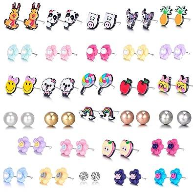 abd62495f51f8 Mixed Cute Fox Reindeer Pineapple Apple Rainbow Lollipop Pig Flower  Rhinestones Faux Pearl Stud Earrings Gift Set with Stainless Post for Girl  Women