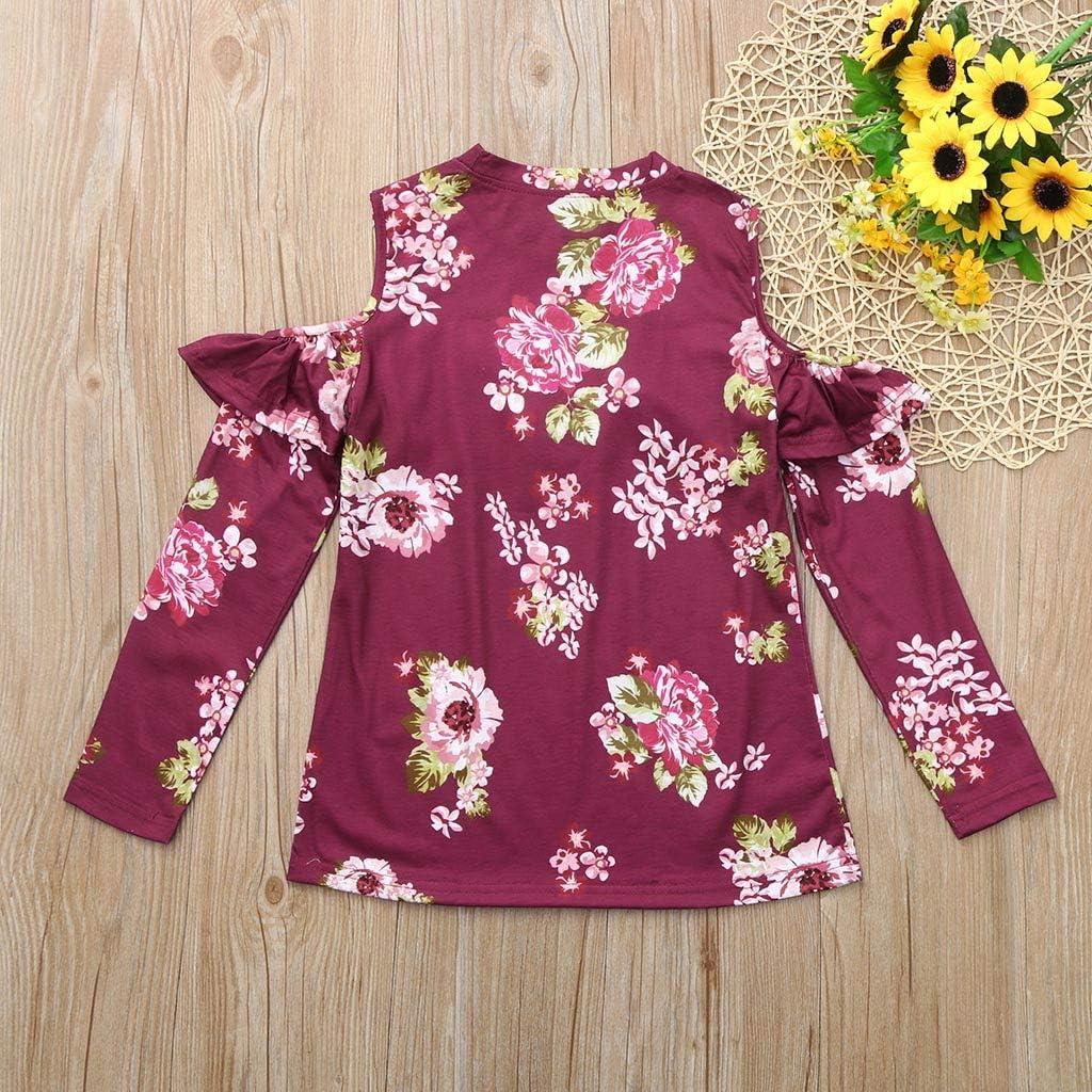 Wenini Children Girls T-Shirt Off Shoulder Top Long Sleeve Floral Ruffles Shirts