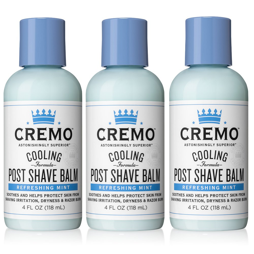 Cremo Cooling Post  Shave Balm to Sooth, Cool and Protect Skin From Shaving Irritation, Dryness and Razor Burn, 4 Ounce (Pack of 3)