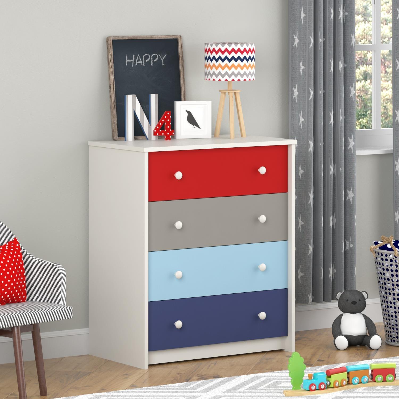 Amazon.com: Cosco Products Kaleidoscope 4 Drawer Bedroom Chest ...