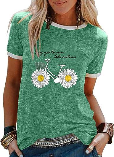 Camisetas de Hippie Estampadas de Dibujos Animados para Mujer Camisetas Divertidas de Manga Corta con Cuello Redondo Informal: Amazon.es: Ropa y accesorios