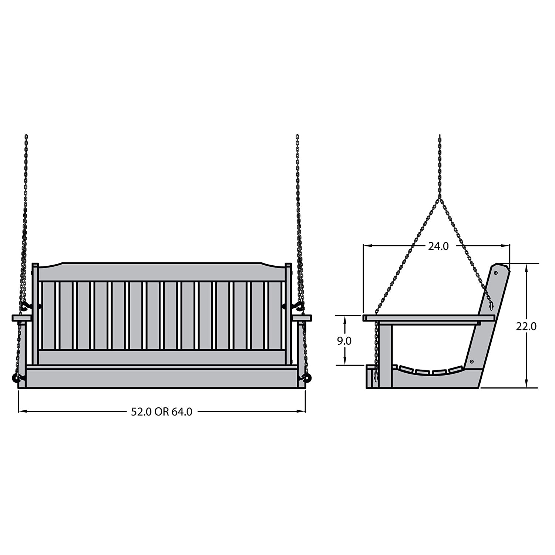 Black 4 Feet Highwood AD-PORL2-BKE Lehigh Porch Swing