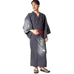 【着物+帯+下駄+腰紐】デニム着物浴衣メンズ 男性用 お仕立て上がり 着物浴衣4点セット|メンズ|男ゆかた|着物| (LL, ブラック・ノーマル)