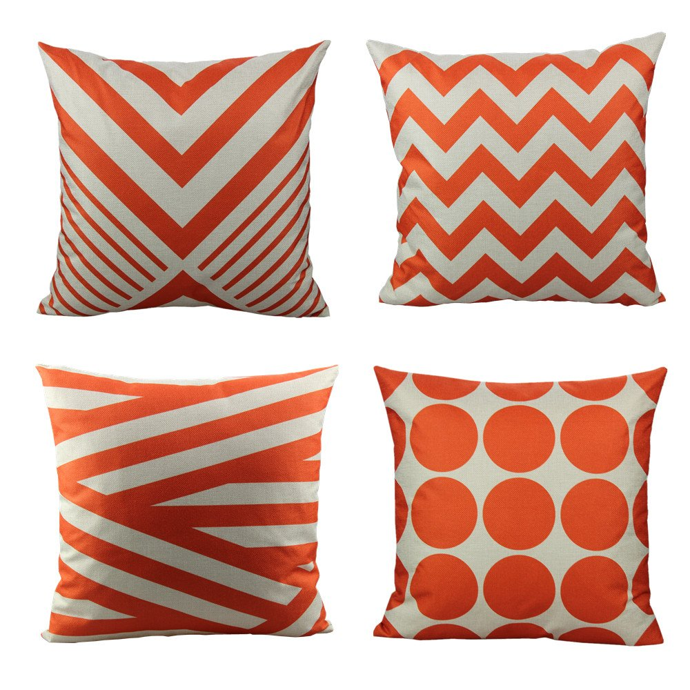 All Smiles 20x20 Orange Furniture Throw Pillow Covers Cases Set of 4 Outdoor Couch Patio Accent Cushion Decorative Home Décor for Sofa Chair Bed Living Room,Geometric Modern Style