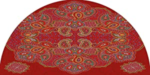 Red Mandala Frosted Privacy Arched Window Film, Moroccan Persian Design Oriental Rectangular Paisley Floral Print Decorative Stained Frosted Privacy Window Decal for Home & Office Privacy, 28 inches