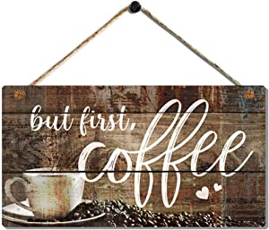But First Coffee Signs Vintage Kitchen Coffee Decor Office Coffee Maker Signs Wood Wall Hanging Art Plaque by 6x11.5''