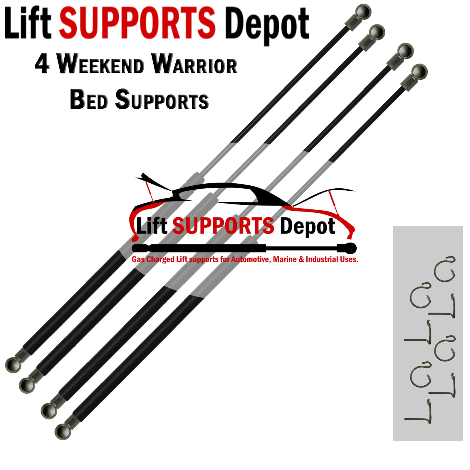 Qty (4) Weekend Warrior Bed Shocks Toy Hauler 30'' x 95lbs force Lift supports by Lift Supports Depot