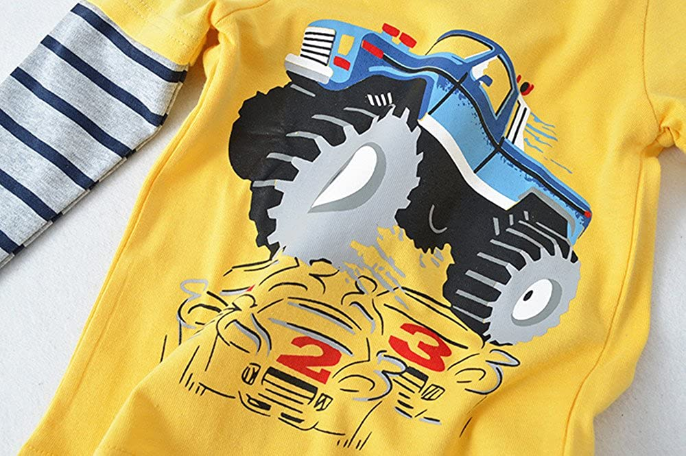 Qtake Fashion Boys Clothes Rocket Cotton Crewneck Long Sleeve Cartoon T-Shirt Kids Sweatshirt