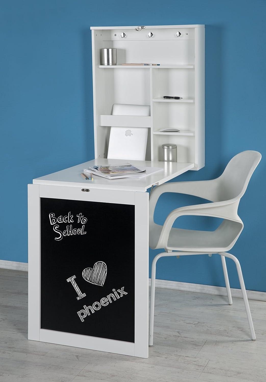 Phönix 805106WE scrivania York, fissaggio a parete, pieghevole con un sacco di spazio e ripiano scomparti e lavagna frontale, 60 x 75 x 15,5 cm, bianco