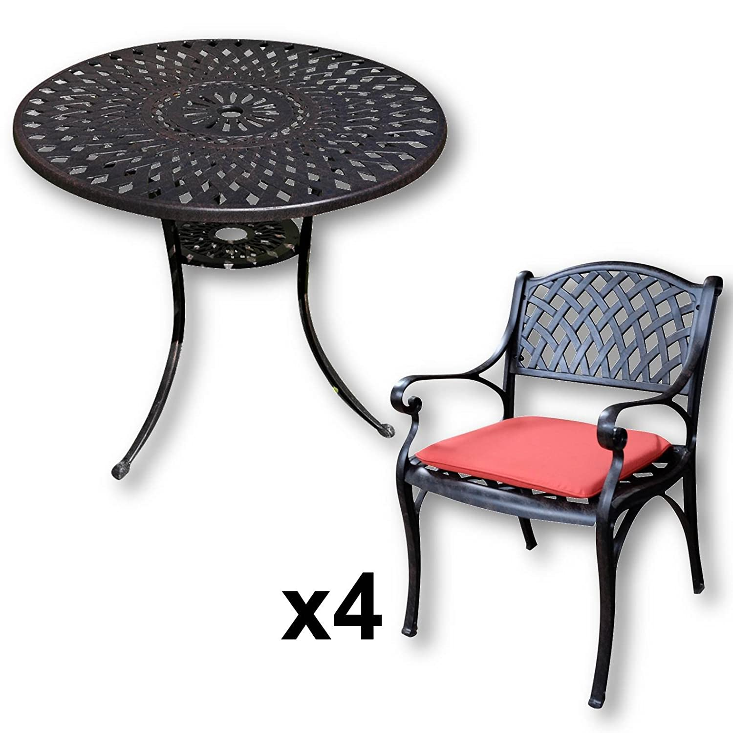 lazy susan mia 90 cm runder gartentisch mit 4 st hlen gartenm bel set aus metall antik. Black Bedroom Furniture Sets. Home Design Ideas