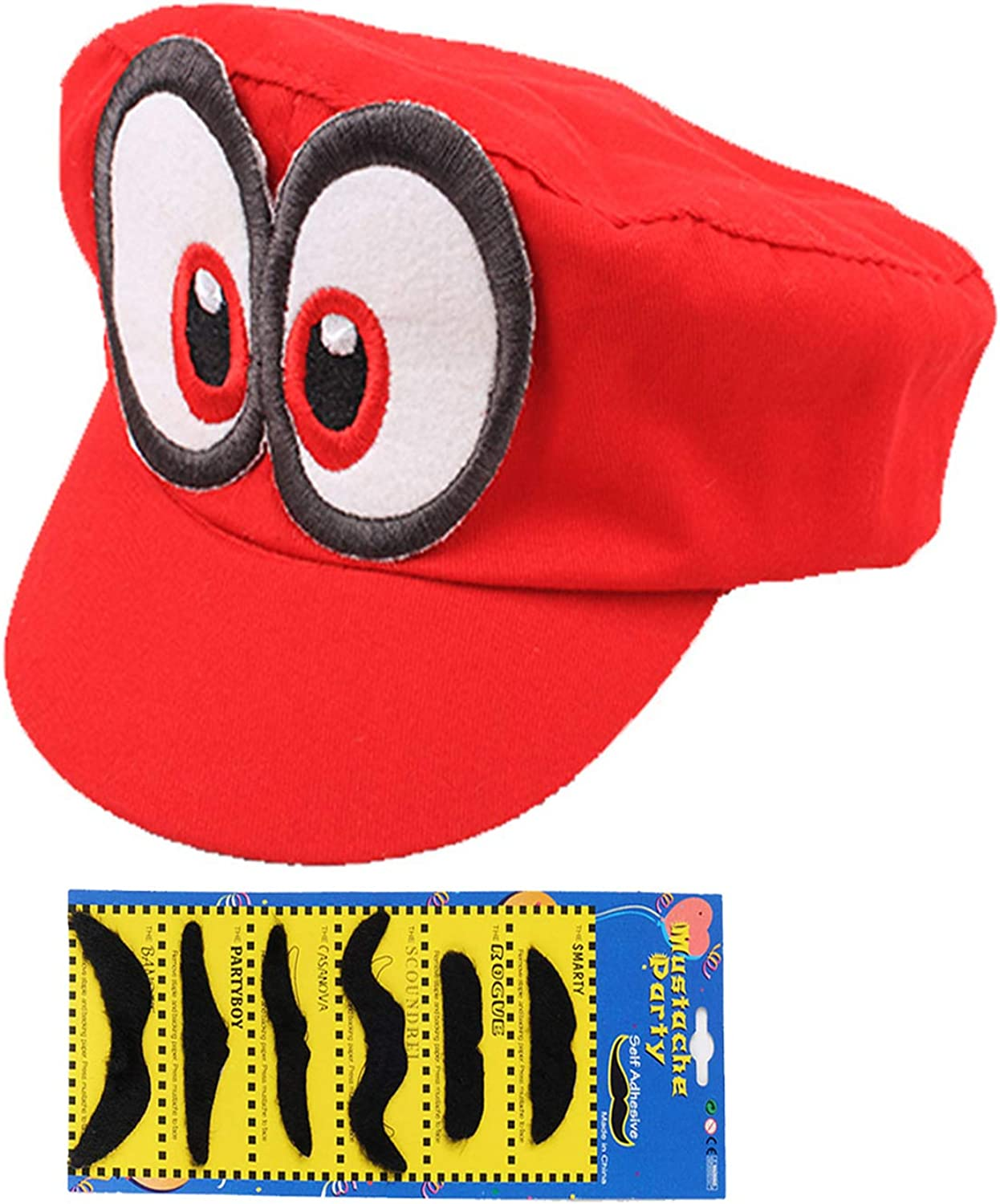 SKYC PXIYOU Super Mario Bros Hat Cosplay Kids Adult Halloween Costume Baseball Anime Unisex Role Play Hat Odyssey Red, 23-24 inch: Clothing