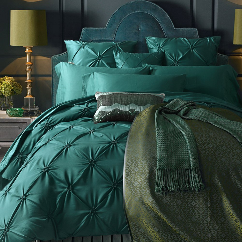 600 Thread count luxury duvet cover set european 100% Extra-Long staple cotton bedding collection bed sheet green-A King