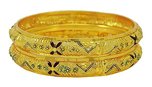 Banithani Ethnic 18K Goldplated Bracelets Traditional Indian Bangle Set Jewellery 2*8 VCFw4ab