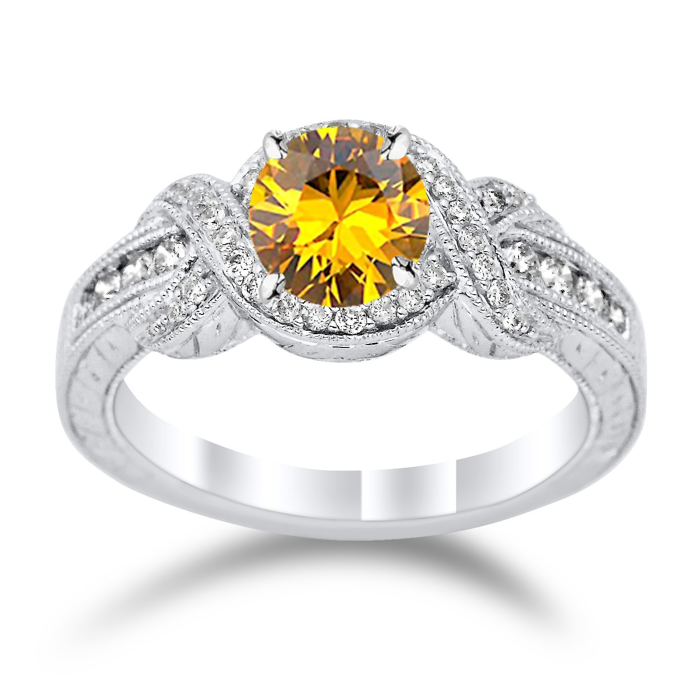 14K White Gold Twisting Channel Set Knot Diamond Engagement Ring with a 1.5 Carat Citrine Heirloom Quality Center