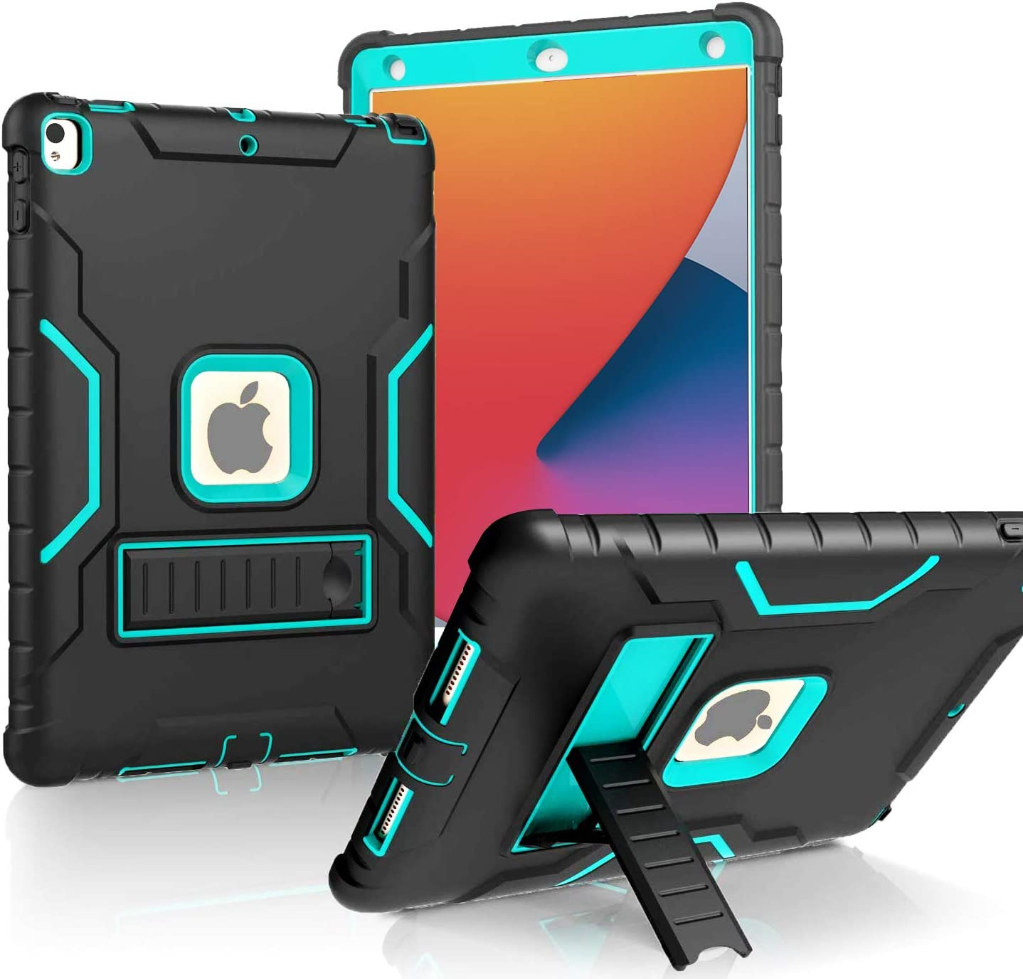 LTROP New iPad 10.2 Case, iPad 8th/7th Generation Case with Built-in Screen Protector, Heavy Duty Rugged Full-Body Drop Protection Stand Case Cover for iPad 10.2-inch 2020/2019, Black and Turquoise