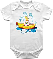 Body Bebê Yellow Submarine Banho, Let's Rock Baby, Branco