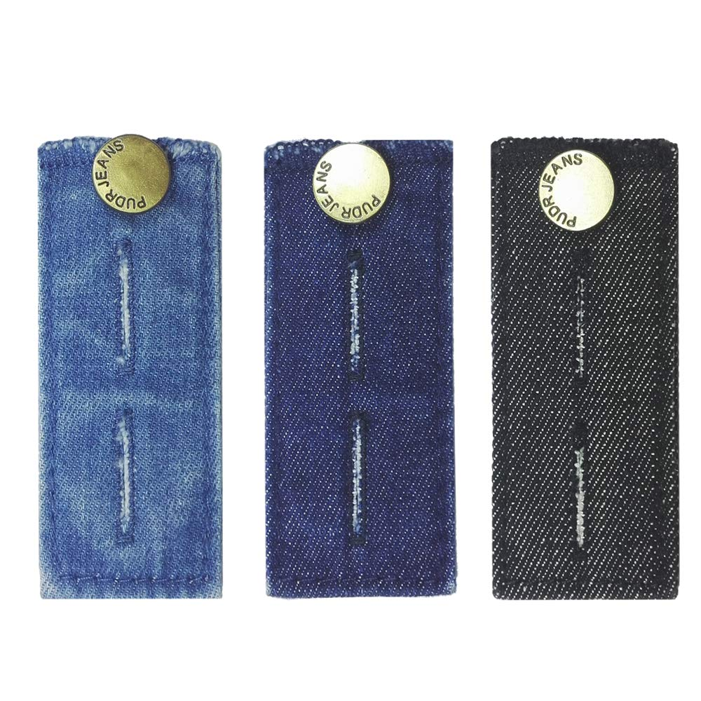 """Set of 3 Black LZLER Denim Waist Extenders for Men and Women Add 1//2/"""" to 2/"""" Extra Space Blue and Dark Blue Easy Fit Buttons for Jeans Trousers with Metal Button"""