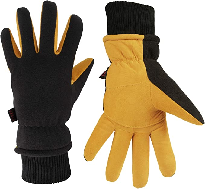 OZERO Gloves Deerskin Suede Leather Palm with Big Patch