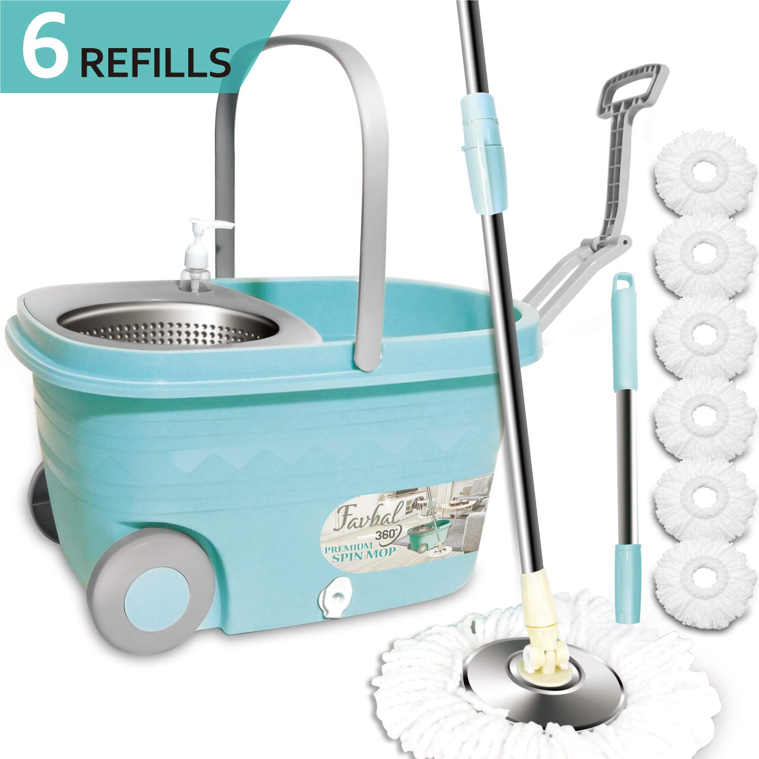 Spin Mop Floor Cleaning Supplies - Favbal Stainless Steel Spinning Mop and Bucket with Wringer Home Cleaning Kit for Hardwood Floors and Tiles