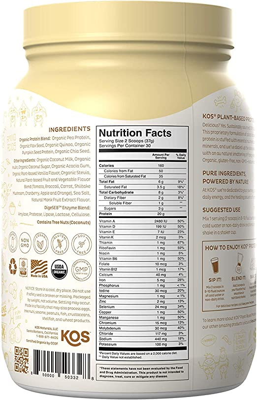 Amazon.com: KOS Organic Plant Based Protein Powder - Mezcla ...