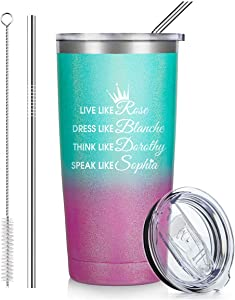 Live Like Rose Dress...Tumbler Insulated Stainless Steel Coffee Cup with Lid,Christmas Gifts, Tumbler with Lid and Straw,2 Straws,Gift Wrap Box(Glitter Fashion)