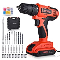20V MAX Cordless Drill/Driver, JUEMEL 100Pcs Accessories Electric Power Drill Set, 2-Speed with Variable Speed Trigger, 3/8'' Keyless Chuck, 18+1 Clutch and 2Ah Lithium-Ion Battery