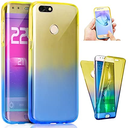 Huawei P9 Lite Mini Case, Surakey Clear Gradient Scratch Proof 360 Front and Back Full Body Coverage Protection Soft Flexible TPU Bumper Ultra Thin ...