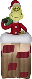 Airblown Holiday Inflatable Dr. Seuss The Grinch in The Chimney 6 Feet Tall